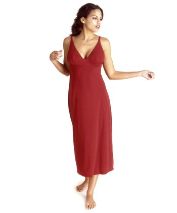 Red V-Neck Nursing Nightgown