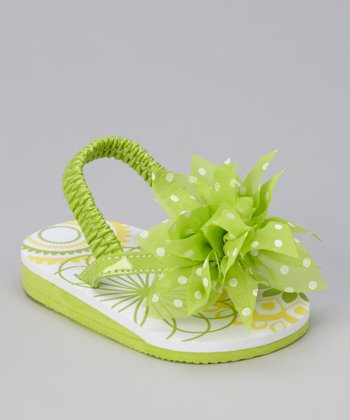 Lime Green Polka Dot Flower Sandal
