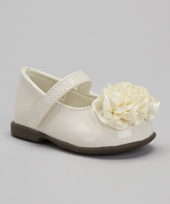Ivory Patent & Satin Mary Jane