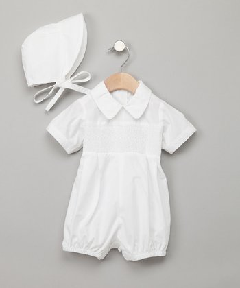White Bubble Romper & Bonnet - Infant