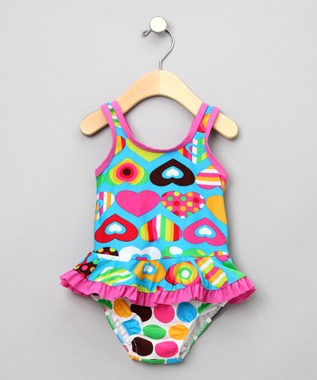 Groovy Hearts One-Piece Swimsuit with Swim Diaper