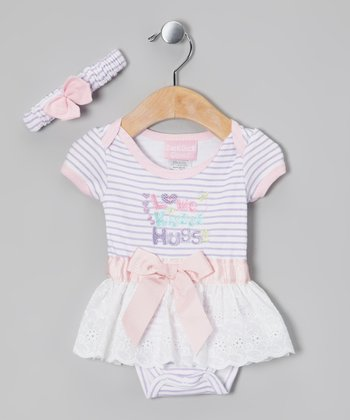 Lavender & Pink Love Skirted Bodysuit & Headband