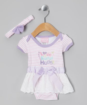 Pink & Lavender Skirted Bodysuit & Headband