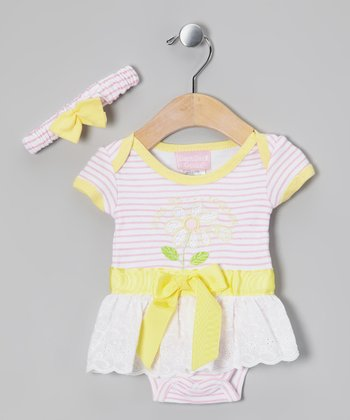 Pink & Yellow Skirted Bodysuit & Headband
