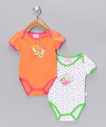 Duck Duck Goose Lime & Orange Best Friends & Shoes Bodysuit Set