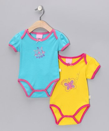 Duck Duck Goose Turquoise & Yellow Hugs & Butterflies Bodysuit Set