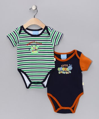 Duck Duck Goose Green & Navy Little Critter Bodysuit Set