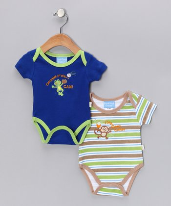 Duck Duck Goose Navy & Tan Cute Catch Bodysuit Set