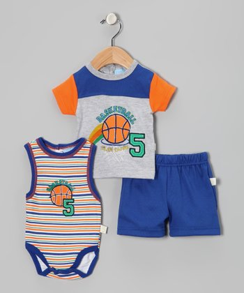 Blue & Orange 'Slam Dunk' Shorts Set