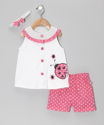 Duck Duck Goose Pink & White Polka Dot Ladybug Top Set