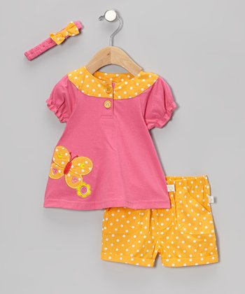 Duck Duck Goose Pink & Orange Polka Dot Butterfly Puff-Sleeve Top Set