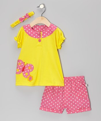 Duck Duck Goose Yellow & Pink Polka Dot Butterfly Puff-Sleeve Top Set