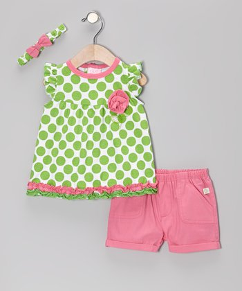Duck Duck Goose Green & Pink Ruffle Polka Dot Cap-Sleeve Top Set