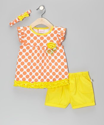 Orange & Yellow Ruffle Polka Dot Cap-Sleeve Top Set
