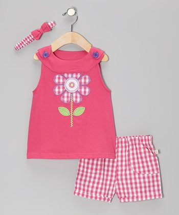 Pink Plaid Flower Poplin Jumper Set