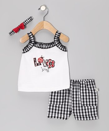 Duck Duck Goose Black Plaid 'Love Bug' Ruffle Top Set