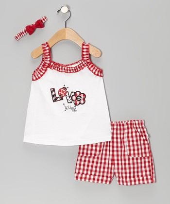 Duck Duck Goose Red Plaid 'Love Bug' Ruffle Top Set