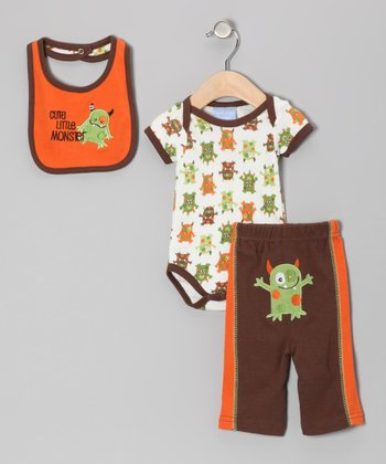 Orange & Brown 'Cute Little Monster' Bodysuit Set