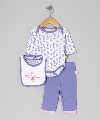 Duck Duck Goose Purple & Pink Tutu Cute Bodysuit Set