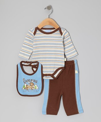 Duck Duck Goose Brown & Blue 'Camping Adventure' Bodysuit Set