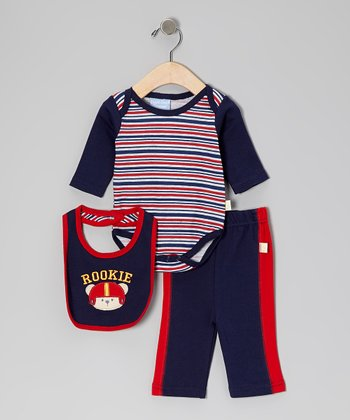 Duck Duck Goose Red & Navy 'Rookie' Bodysuit Set - Infant