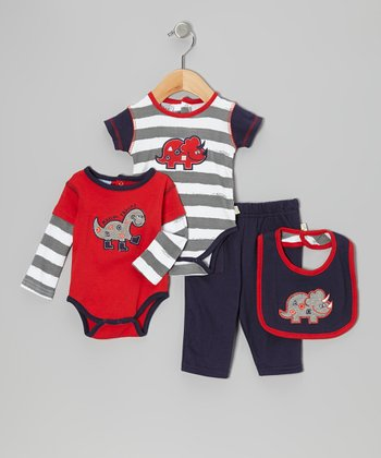 Navy & Red 'Feed Me' Bodysuit Set - Infant