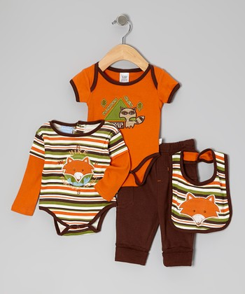 Brown & Orange Foxhole Trails Bodysuits Set