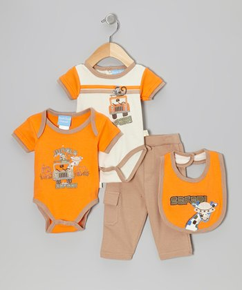 Orange & Khaki 'Safari' Bodysuit Set - Infant