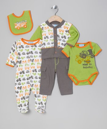 Lime & Orange Trouble Five-Piece Layette Set