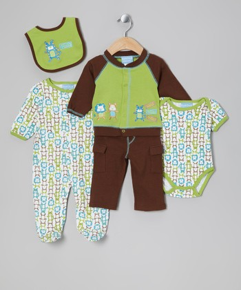 Green & Brown Oh My Five-Piece Layette Set