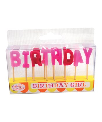 Pink 'Birthday' Candle Set