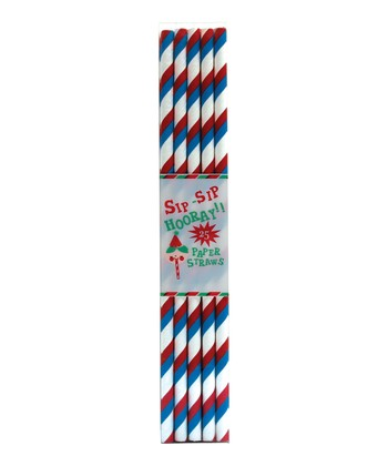 Red & Blue Stripe Paper Straw - Set of 50