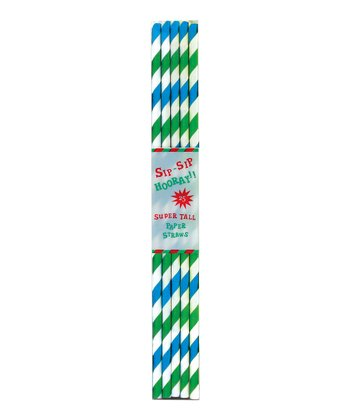 Aqua Stripe Tall Paper Straw - Set of 50