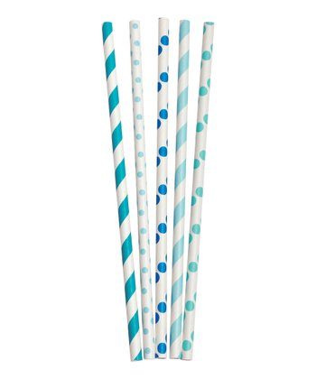 Aqua Stripe & Dot Tall Paper Straw Set