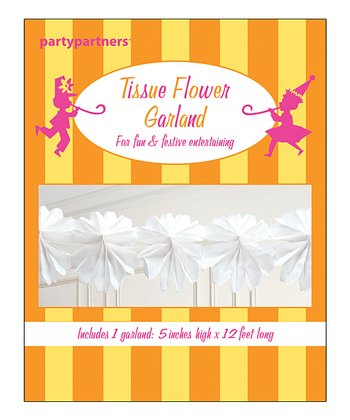 White Tissue Flower Garland - Set of Two