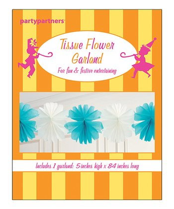 Aqua & White Tissue Flower Garland - Set of Two