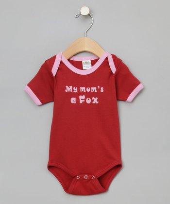 Cranberry 'My Mom's a Fox' Organic Bodysuit - Infant