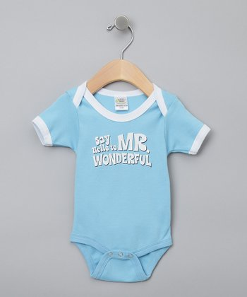Blue 'Mr. Wonderful' Organic Bodysuit - Infant
