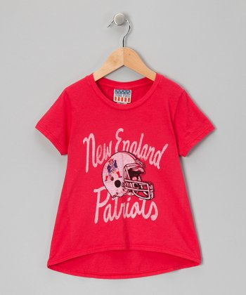 Red New England Patriots Hi-Low Tee - Girls