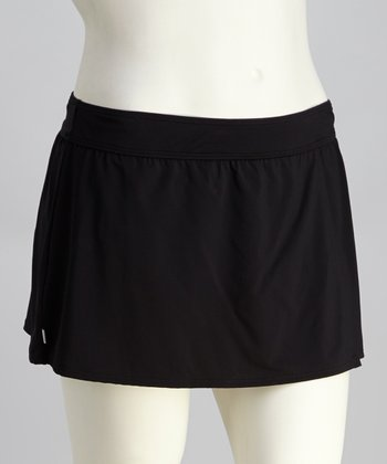 Black Skirted Bikini Bottoms - Plus