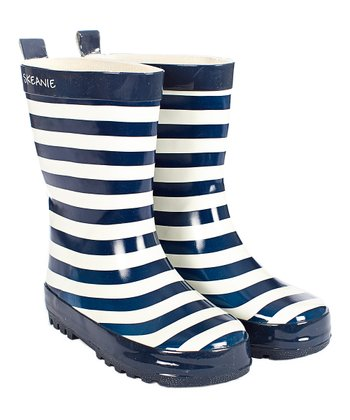 Navy & White Stripe Rain Boot