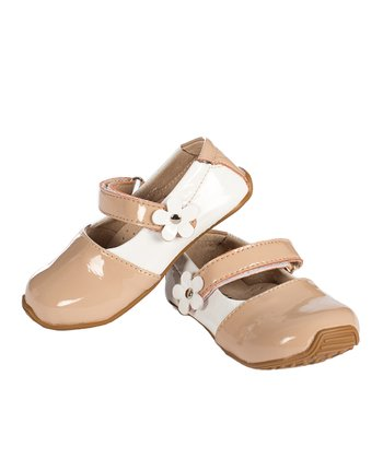 Neutral & White Flower Leather Mary Jane
