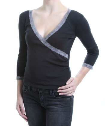 Black Lace Organic Surplice Top