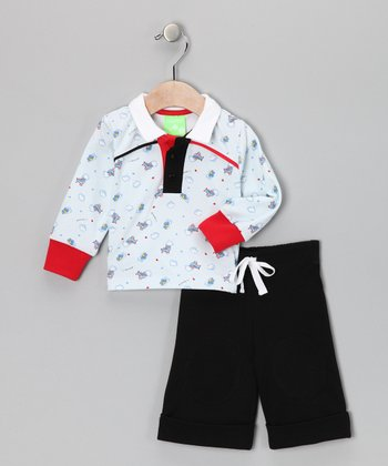White & Black Puffs in the Sky Polo & Shorts - Infant