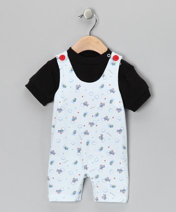 White & Black Puffs in the Sky Tee & Shortalls - Infant