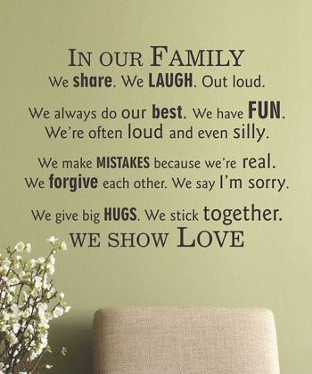 Black 'In Our Family' Wall Quote