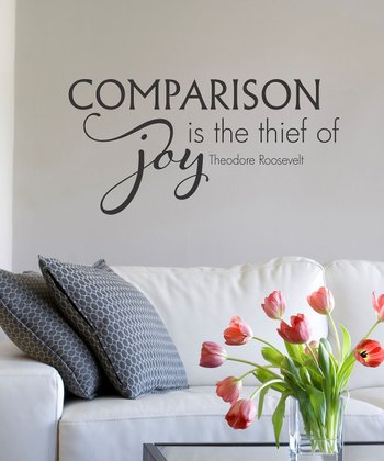 Black 'Comparison Is the Thief of Joy' Wall Quote