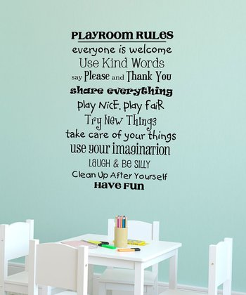 Black 'Playroom Rules' Wall Quote