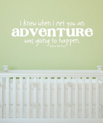 White Pooh Adventure Wall Quote