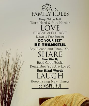 Black 'Family Rules' Wall Quote